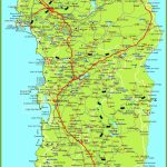 Large Detailed Map Of Sardinia With Cities, Towns And Roads   Printable Map Of Sardinia