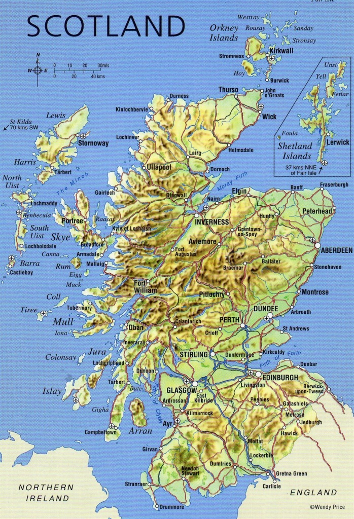 Large Detailed Map Of Scotland With Relief, Roads, Major Cities And - Detailed Map Of Scotland Printable
