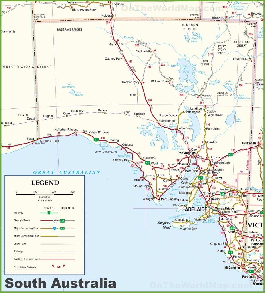 Large Detailed Map Of South Australia With Cities And Towns - Printable Map Of Australia With States