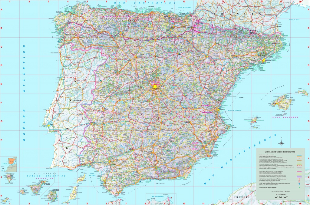 Large Detailed Map Of Spain With Cities And Towns - Printable Map Of Spain With Cities