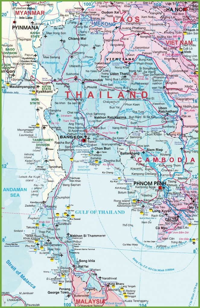 Large Detailed Map Of Thailand With Airports Resorts And Beaches - Printable Map Of Thailand