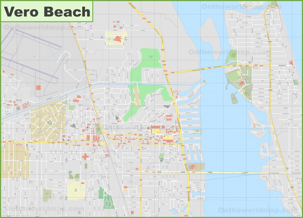 Large Detailed Map Of Vero Beach - Vero Beach Fl Map Of Florida