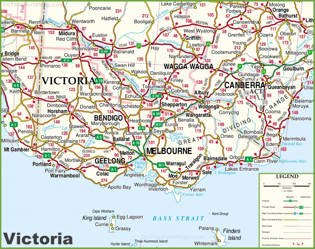 Large Detailed Map Of Victoria With Cities And Towns - Printable Map Of Victoria