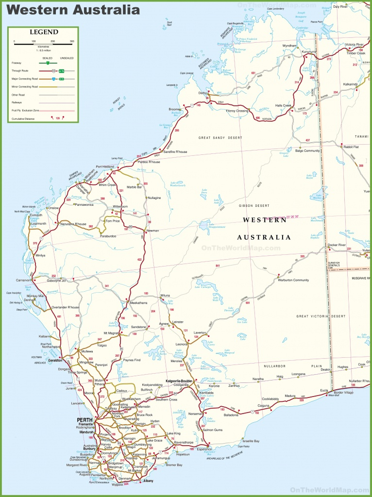 Large Detailed Map Of Western Australia With Cities And Towns - Printable Map Of Western Australia