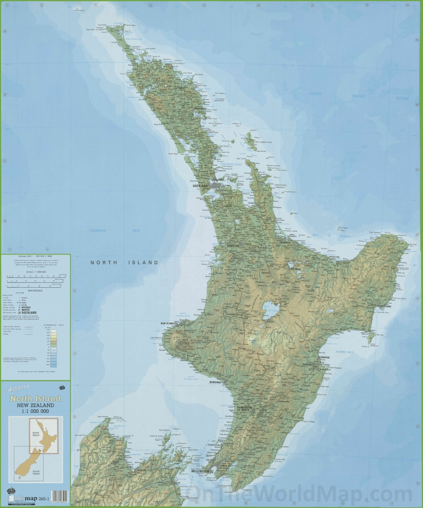 Large Detailed North Island New Zealand Map - New Zealand North Island Map Printable