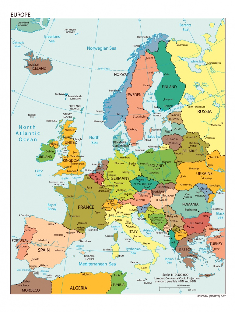 Large Detailed Political Map Of Europe With All Capitals And Major - Printable Map Of Europe With Cities