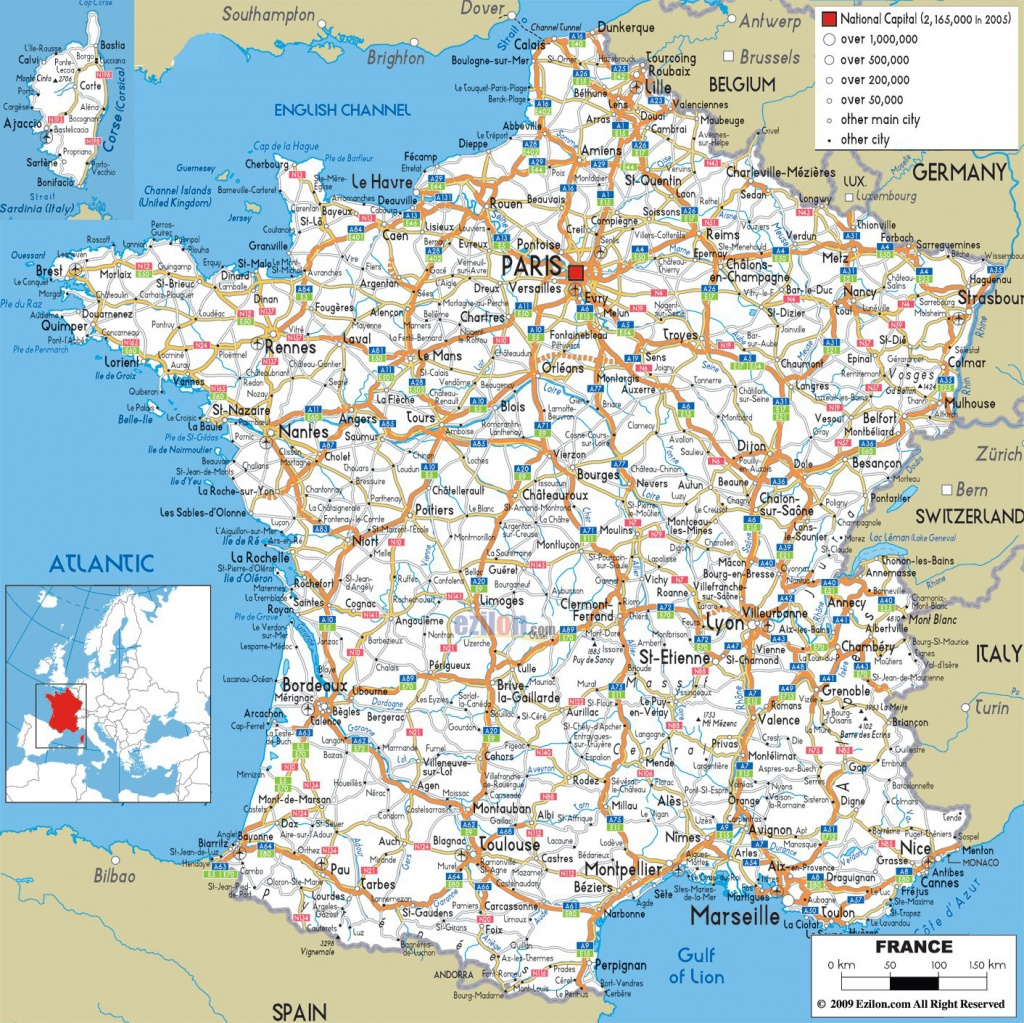Large Detailed Road Map Of France With All Cities And Airports - Printable Map Of France