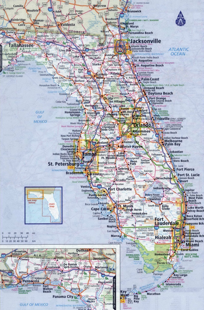 Large Detailed Roads And Highways Map Of Florida State With All - Road Map Of North Florida
