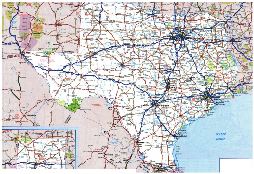 Large Detailed Roads And Highways Map Of Texas State With All Cities - Large Texas Map