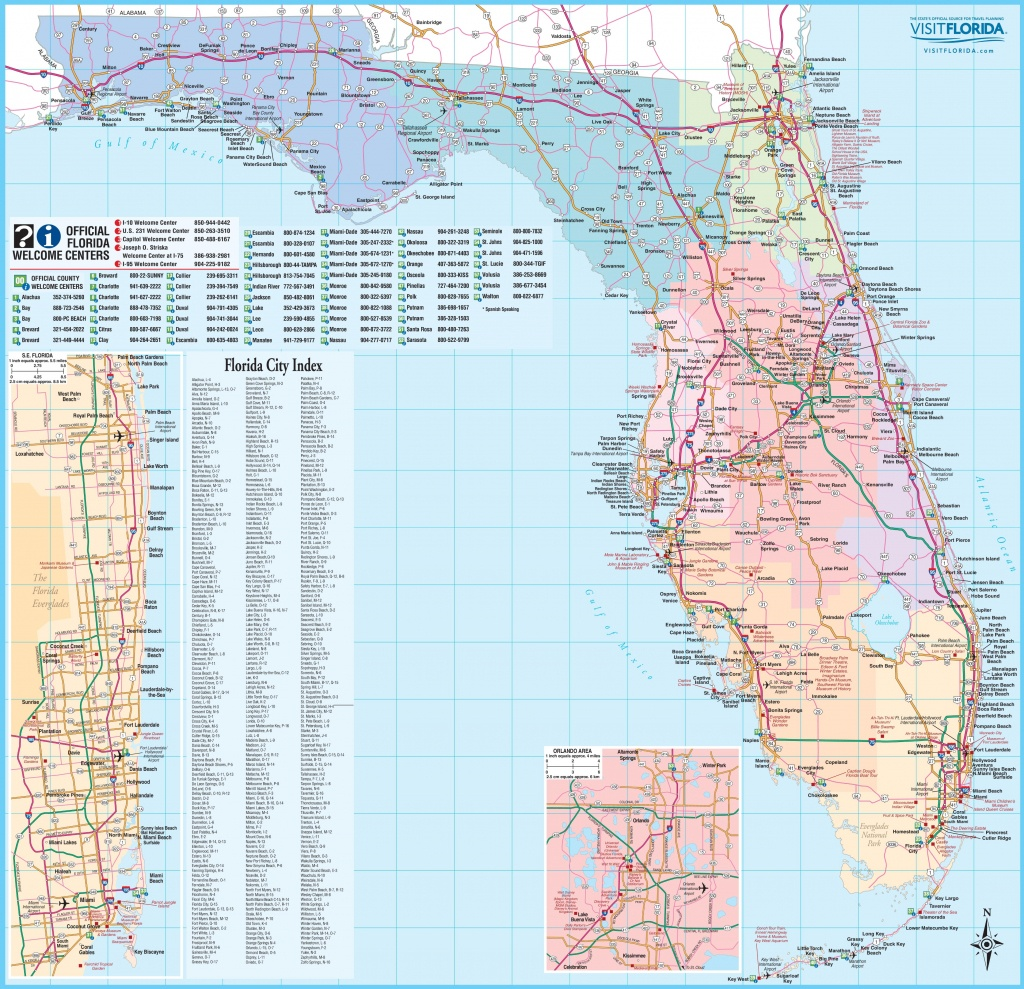 Large Detailed Tourist Map Of Florida - Free Map Of Florida Cities