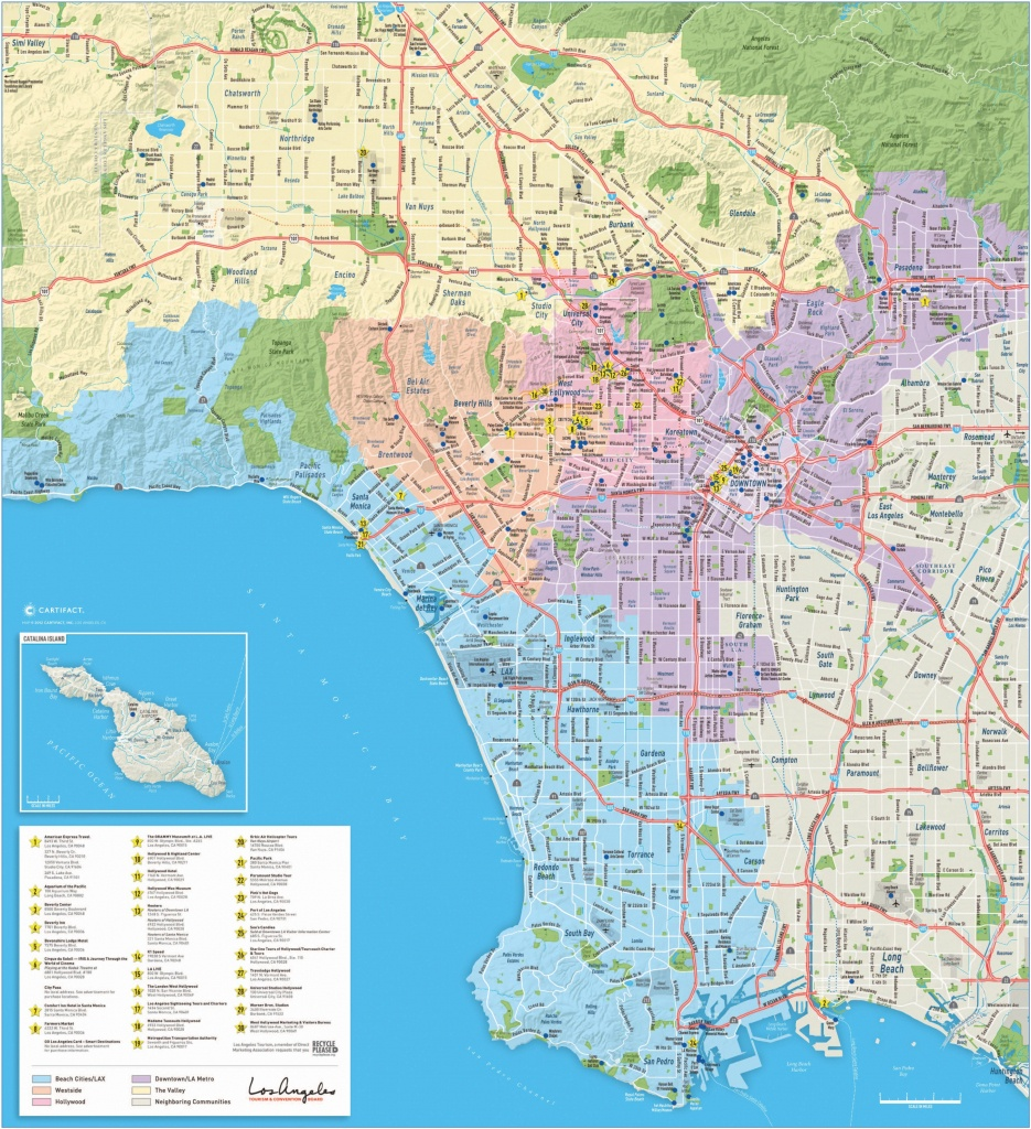 Large Detailed Tourist Map Of Los Angeles - Printable Map Of Los Angeles