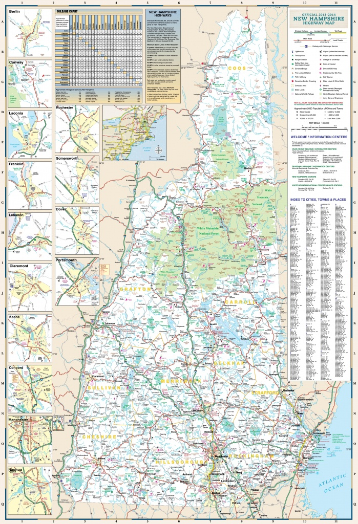 Large Detailed Tourist Map Of New Hampshire With Cities And Towns - Printable Map Of New Hampshire