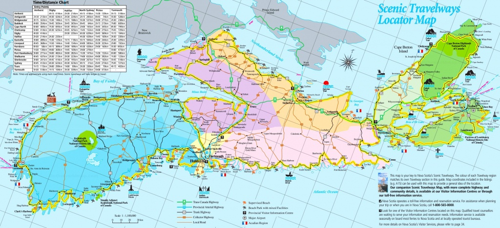 Large Detailed Tourist Map Of Nova Scotia - Printable Map Of Nova Scotia