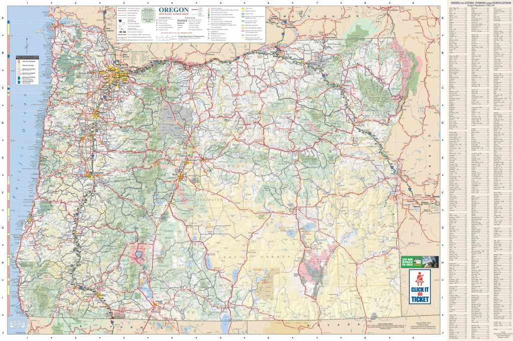Large Detailed Tourist Map Of Oregon With Cities And Towns - Oregon Road Map Printable