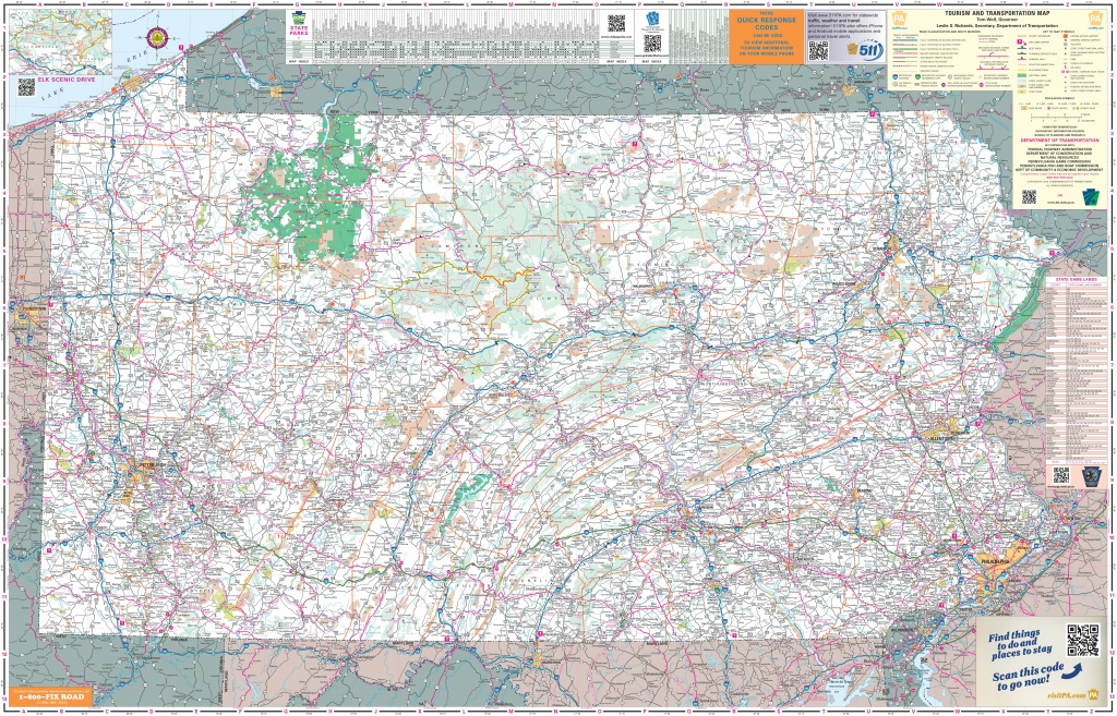 Large Detailed Tourist Map Of Pennsylvania With Cities And Towns - Printable Road Map Of Pennsylvania