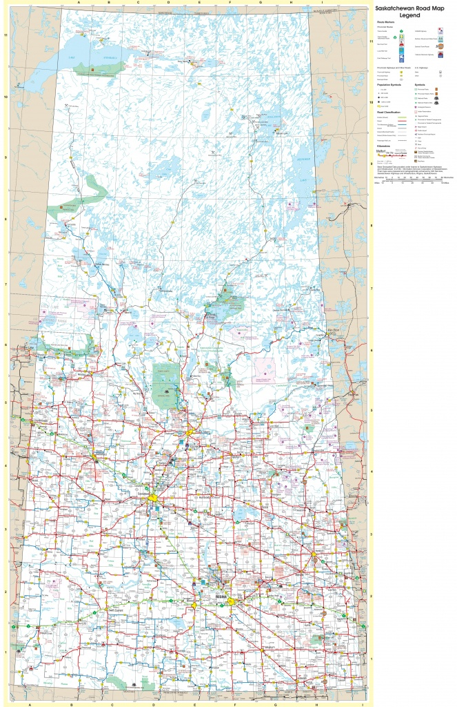 Large Detailed Tourist Map Of Saskatchewan With Cities And Towns - Printable Map Of Saskatchewan