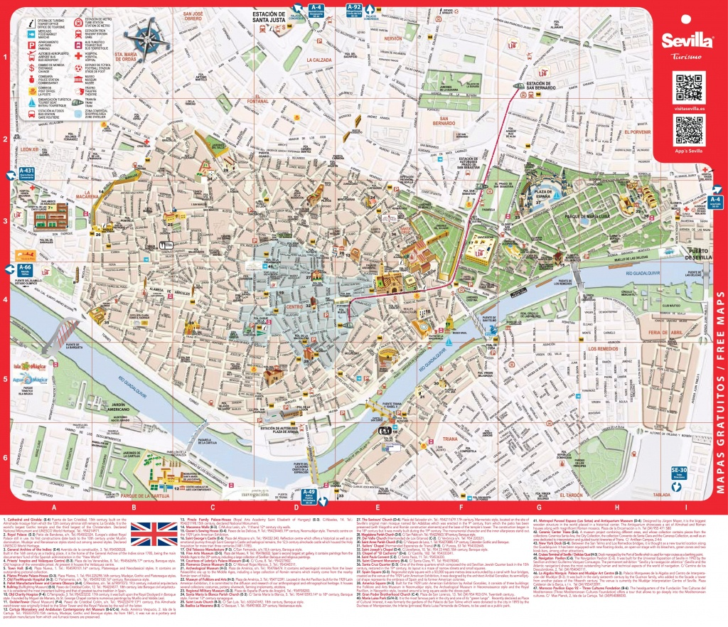 Large Detailed Tourist Map Of Seville - Printable Tourist Map Of Seville