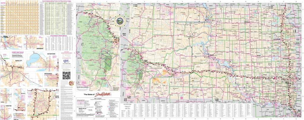 Large Detailed Tourist Map Of South Dakota With Cities, Towns And - Printable Map Of South Dakota