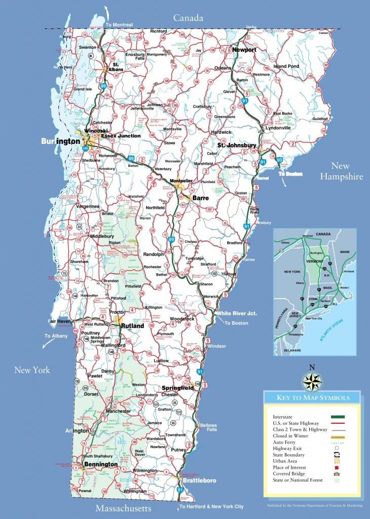 Large Detailed Tourist Map Of Vermont With Cities And Towns - Printable Map Of Vermont