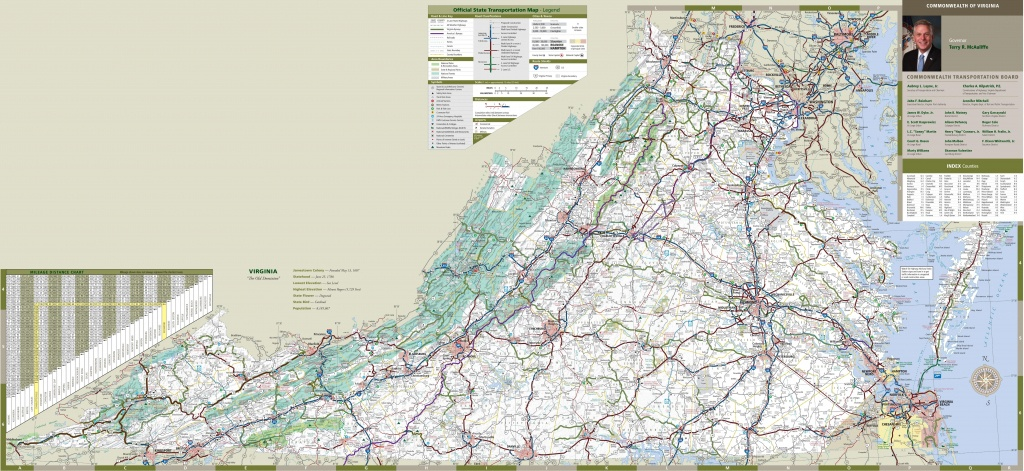 Large Detailed Tourist Map Of Virginia With Cities And Towns - Printable Map Of Virginia