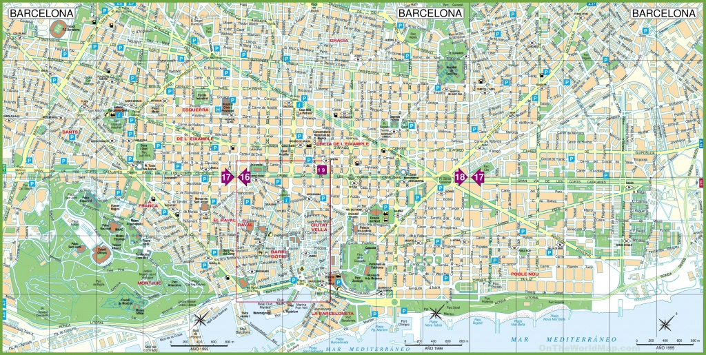 Large Detailed Tourist Street Map Of Barcelona - Barcelona City Map Printable