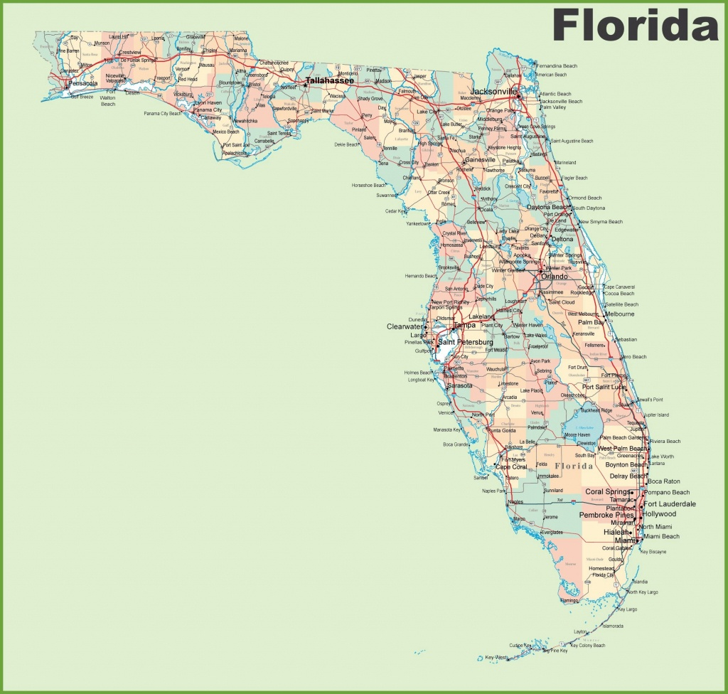 Large Florida Maps For Free Download And Print | High-Resolution And - Gulf Coast Cities In Florida Map