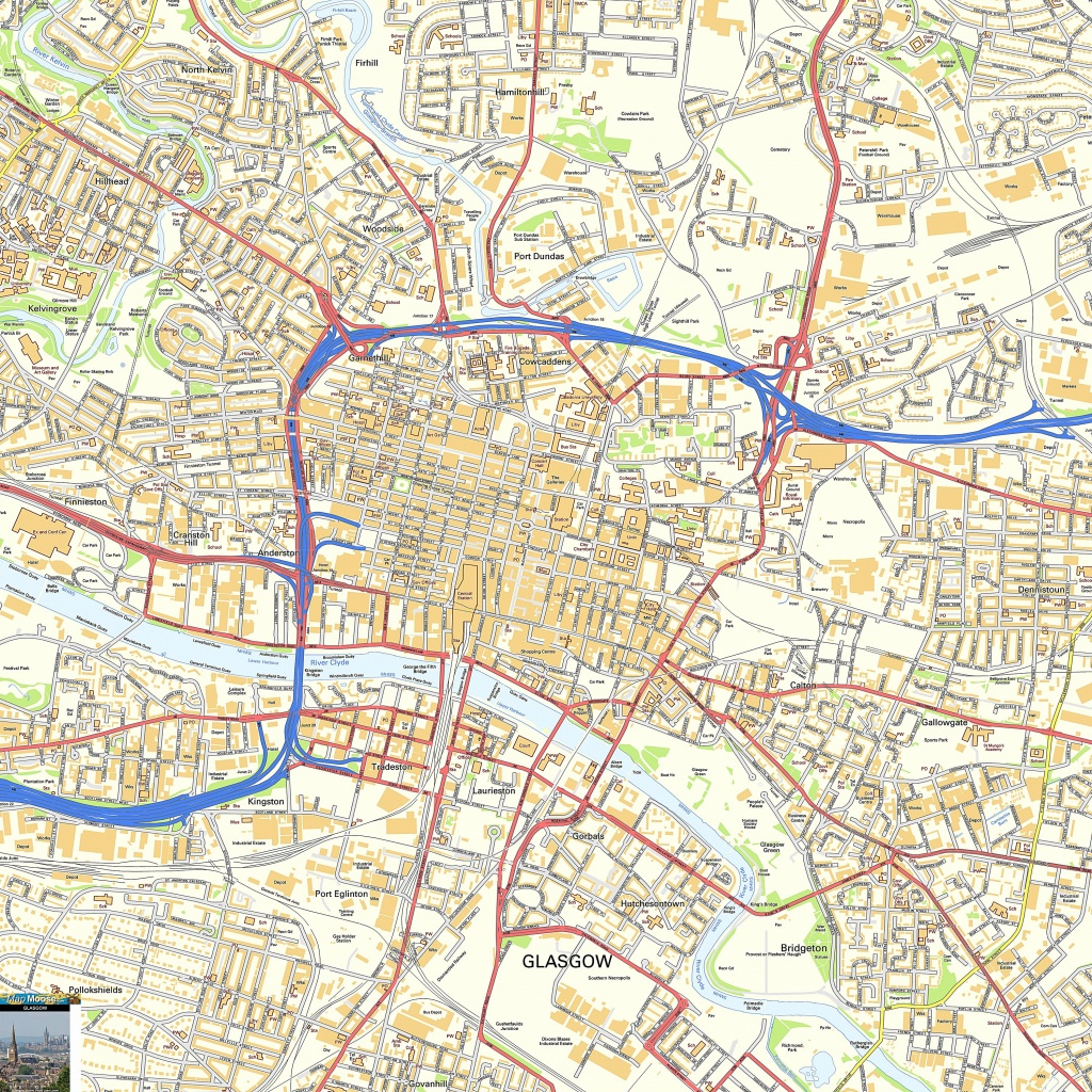 Large Glasgow Maps For Free Download And Print | High-Resolution And - Glasgow City Map Printable