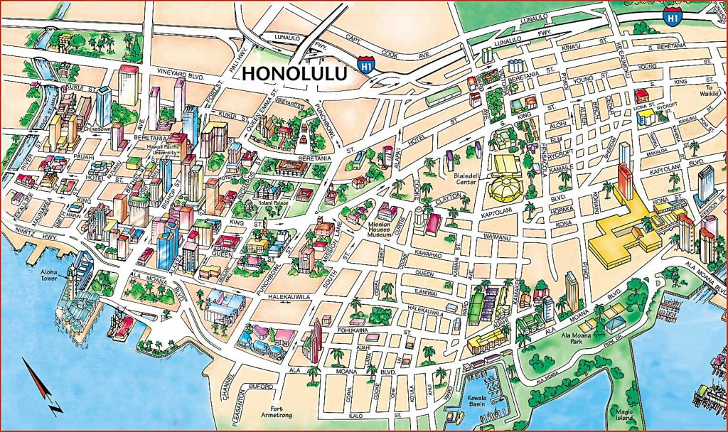 Large Honolulu Maps For Free Download And Print | High-Resolution - Printable Map Of Waikiki