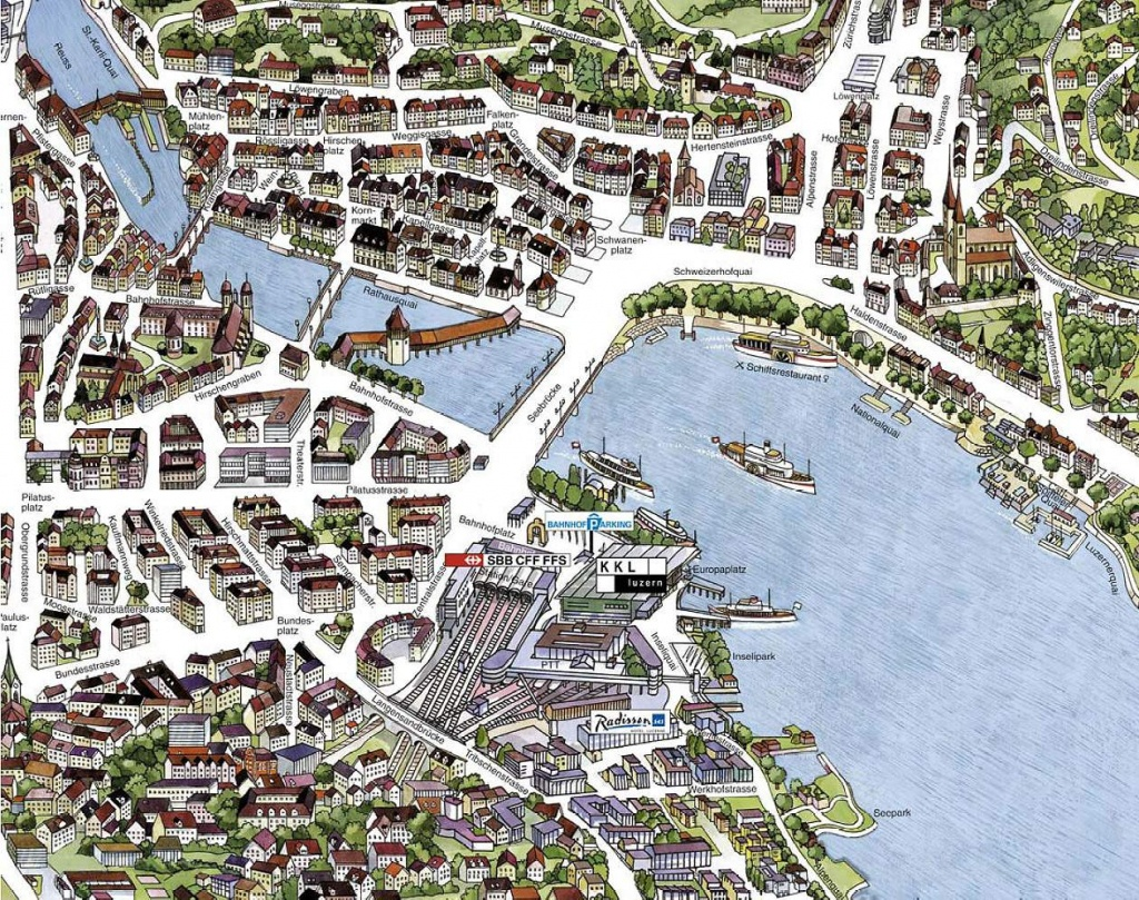 Large Luzern Maps For Free Download And Print   High-Resolution And - Printable Tourist Map Of Lucerne