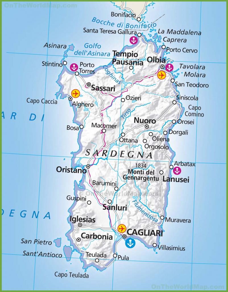 Large Map Of Sardinia - Printable Map Of Sardinia