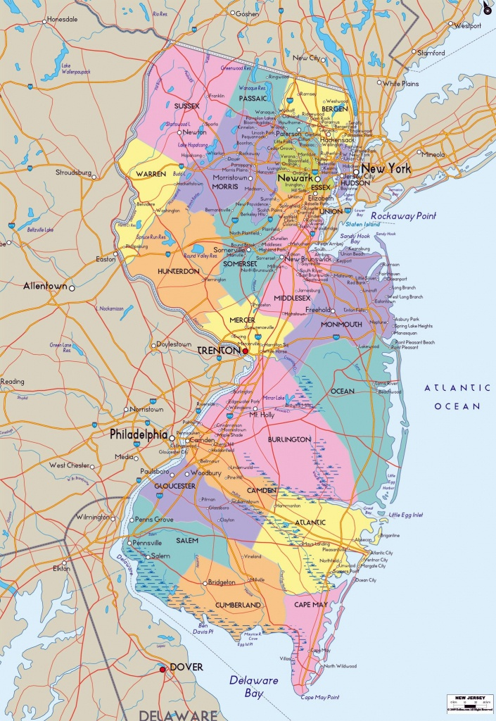 Large New Jersey State Maps For Free Download And Print | High - Printable Map Of New Jersey