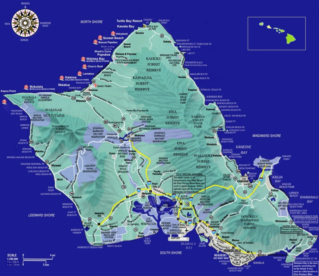 Large Oahu Island Maps For Free Download And Print | High-Resolution - Printable Map Of Oahu Attractions