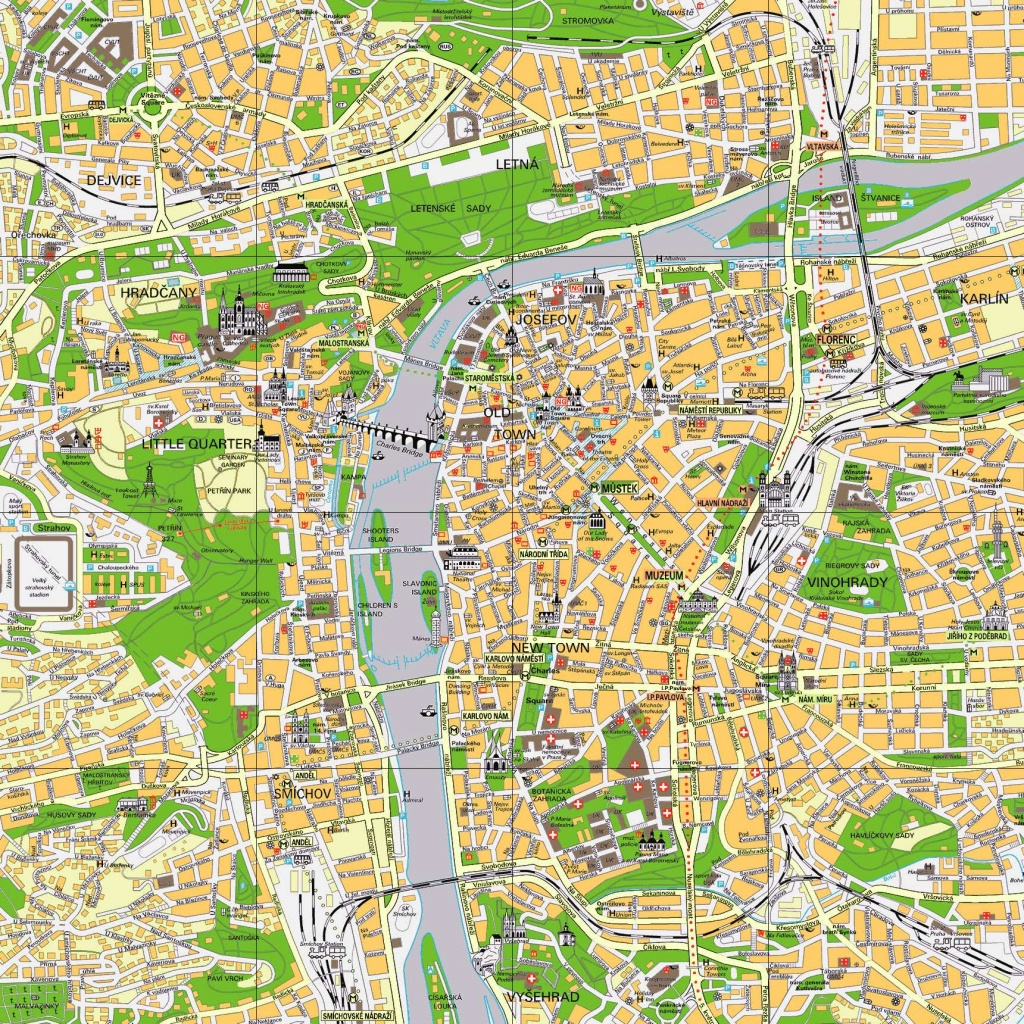 Large Prague Maps For Free Download And Print | High-Resolution And - Printable Map Of Prague