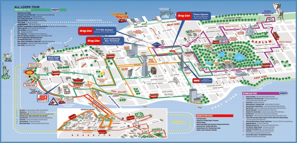 Large Printable Tourist Attractions Map Of Manhattan, New York City - Printable Map Of New York City With Attractions