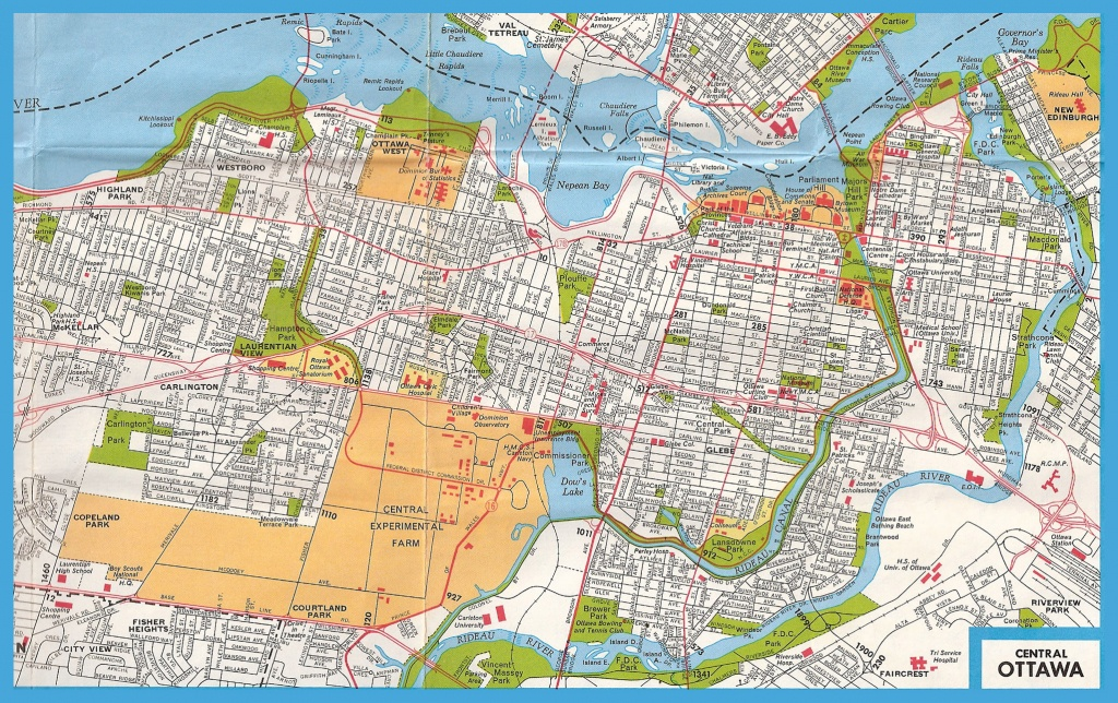 Large Road Map Of Central Part Of Ottawa With Street Names   Vidiani - Printable Map Of Ottawa