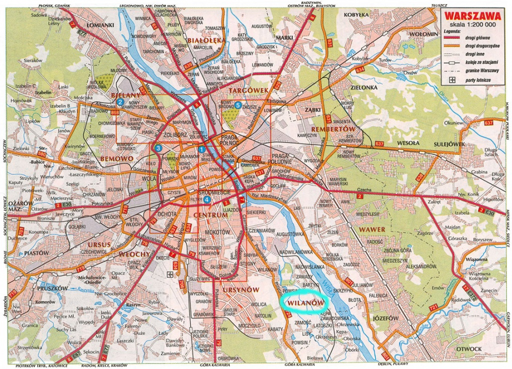 Large Road Map Of Warsaw City. Warsaw City Large Road Map | Vidiani - Warsaw Tourist Map Printable