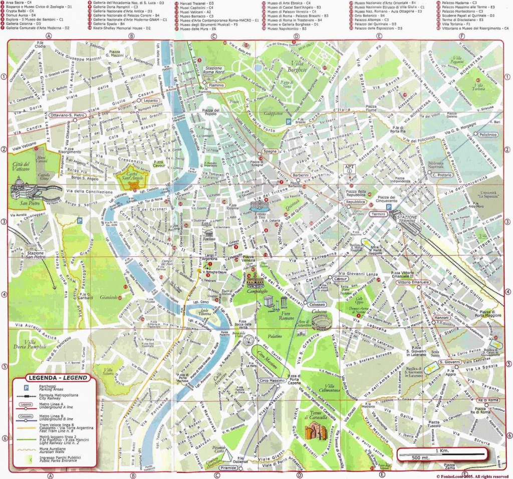 Large Rome Maps For Free Download And Print | High-Resolution And - Map Of Rome Attractions Printable