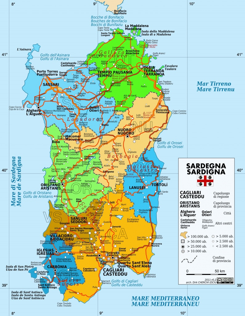 Large Sardinia Maps For Free Download And Print | High-Resolution - Printable Map Of Sardinia