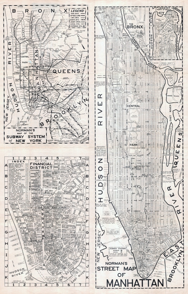 Large Scaled Printable Old Street Map Of Manhattan, New York City - Manhattan City Map Printable