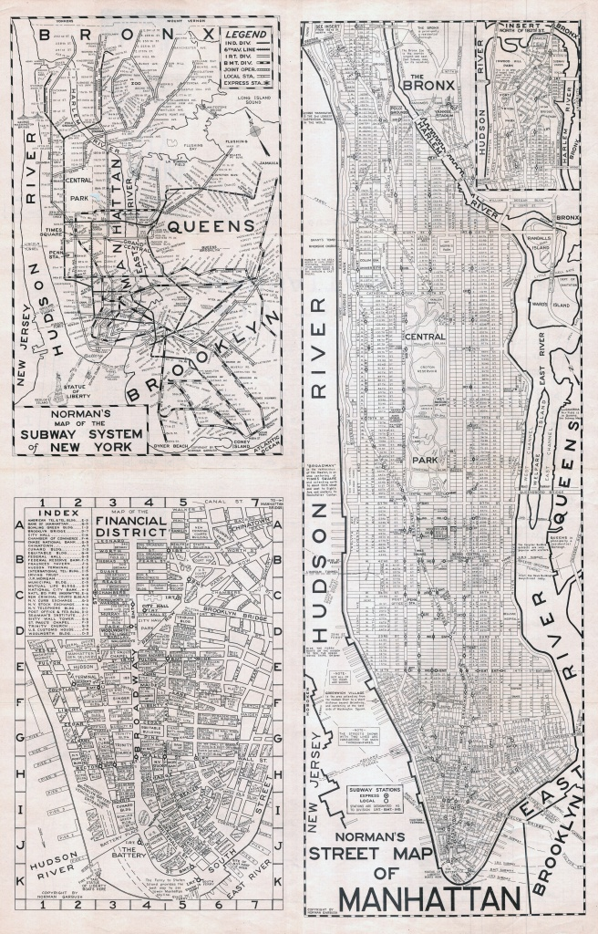 Large Scaled Printable Old Street Map Of Manhattan, New York City - Printable Street Maps
