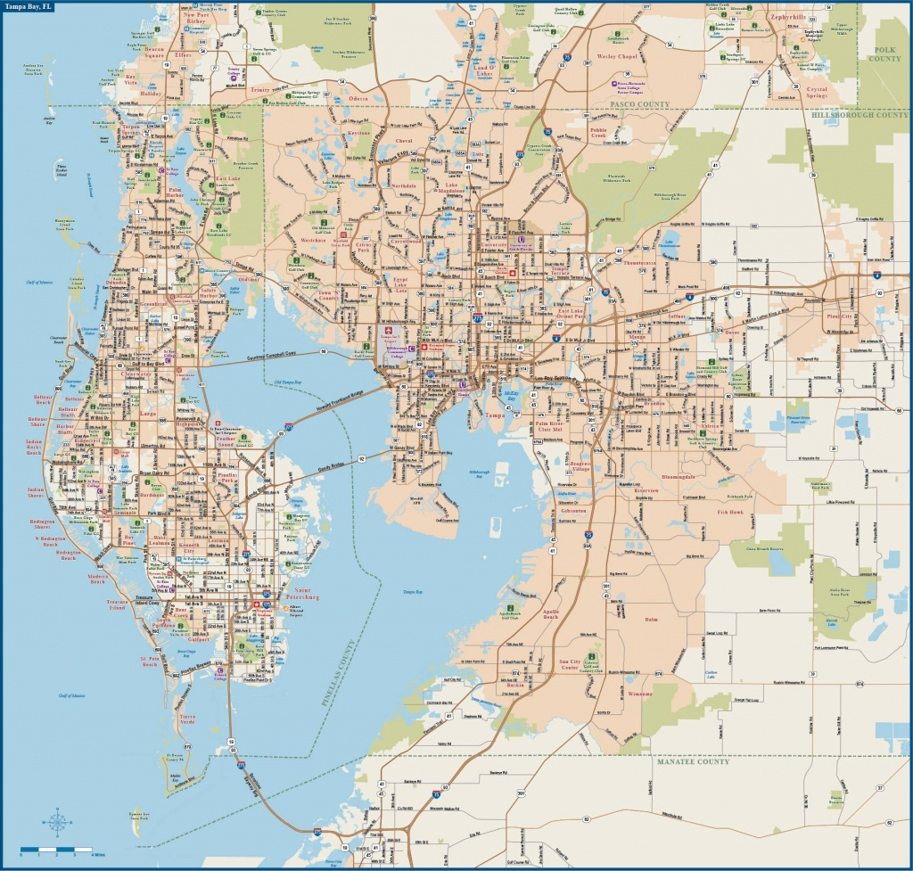 Large Tampa Maps For Free Download And Print | High-Resolution And - Tampa Florida Map With Cities