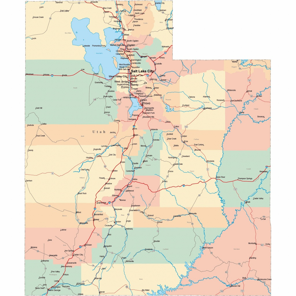 Large Utah Maps For Free Download And Print | High-Resolution And - Utah Road Map Printable