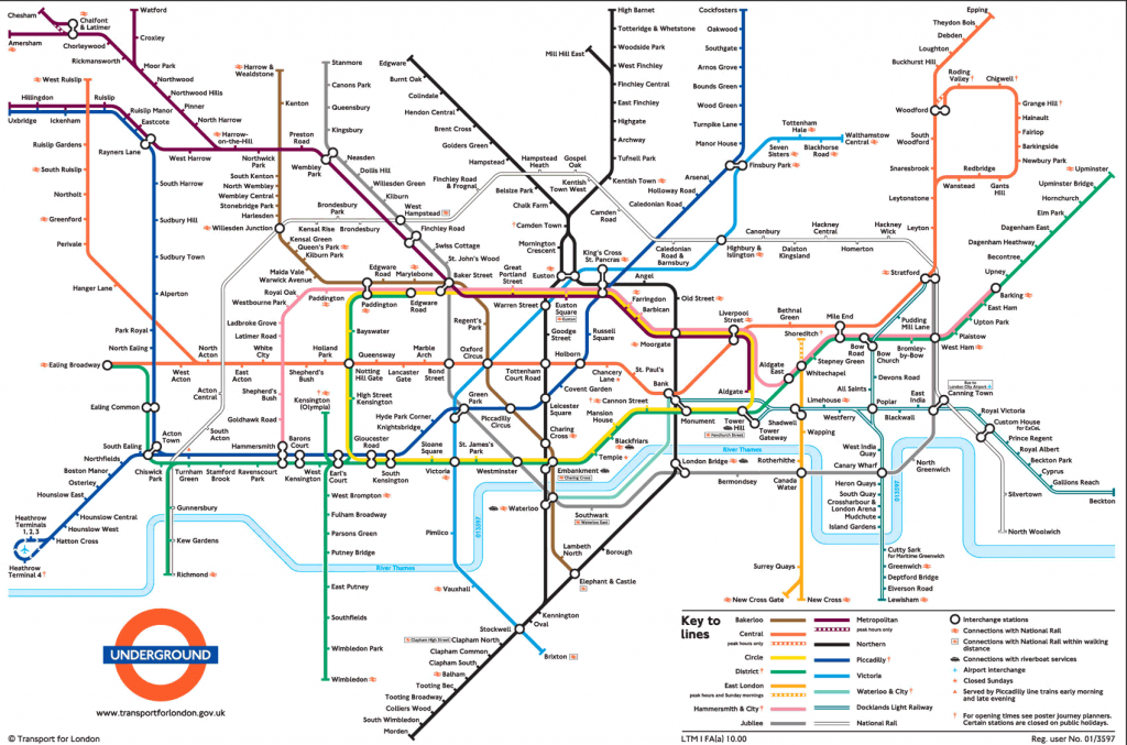 Large View Of The Standard London Underground Map - This Is Exactly - Central London Tube Map Printable