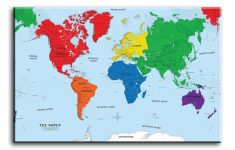 Large Wall Art Canvas Picture Print Of World Map Framed For Sale   World Maps Online Printable