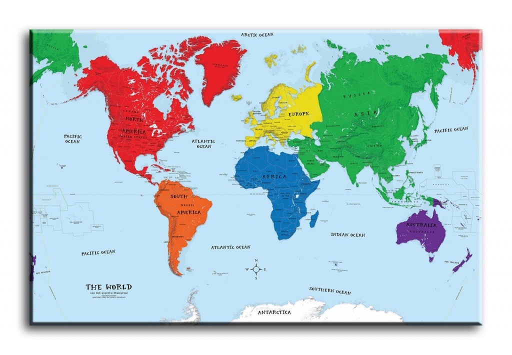 Large Wall Art Canvas Picture Print Of World Map Framed For Sale - World Maps Online Printable