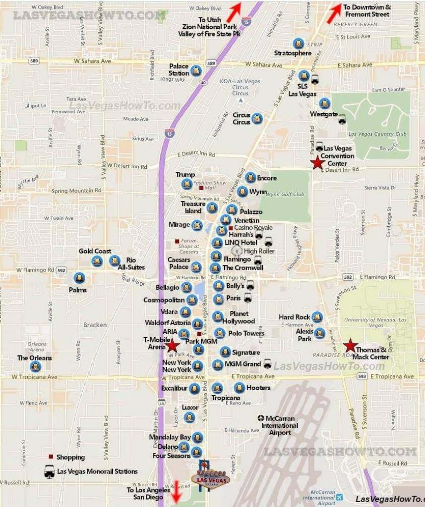 Las Vegas Strip Map (2019) | California, Etc. | Las Vegas Strip Map - Map Of Las Vegas Strip 2014 Printable