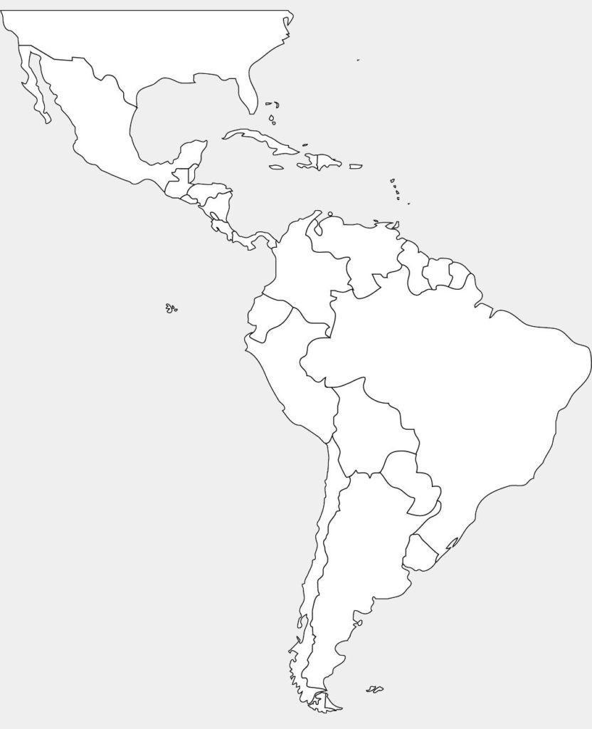 Latin America Blank Map Printable Central South World North Maps - Printable Blank Map Of South America
