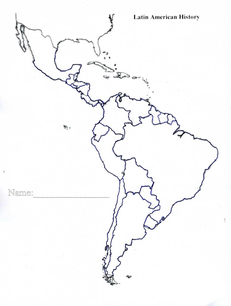 Latin America Map Quiz Printable Blank Of Us And South Central 4 - Blank Map Of Latin America Printable