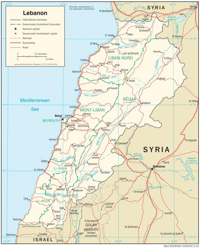 Lebanon Maps - Perry-Castañeda Map Collection - Ut Library Online - Printable Map Of Lebanon