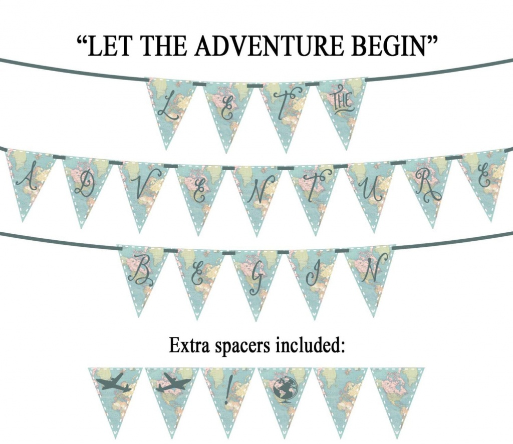 Let The Adventure Begin Vintage Map Printable Party Banner | Etsy - Printable Map Banner